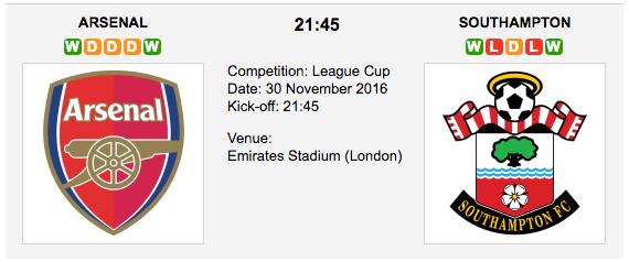 Arsenal vs. Southampton: Match preview - 30/11/2016 EFL