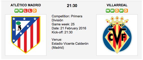 Atl. Madrid vs. Villarreal - Preview La Liga 2016