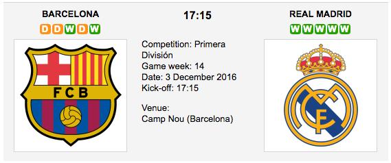 Barcelona vs. Real Madrid: La Liga Preview & Tips - 03/12/2016