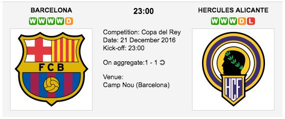 Barcelona vs. Hercules Alicante: Copa del Rey 21/12/2016