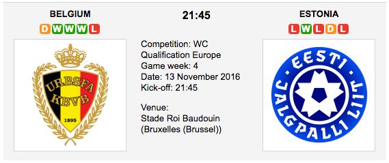 Belgium vs. Estonia: World Cup 2018 Qualifiers Preview