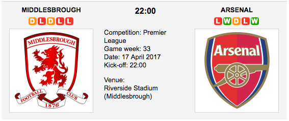 Middlesbrough vs Arsenal - Premier League Preview & Tips
