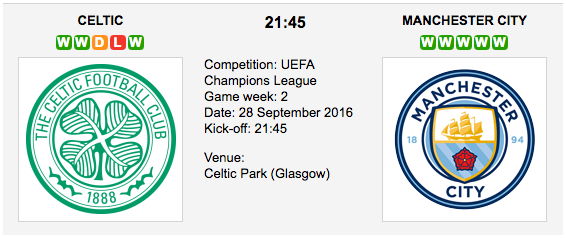 Celtic vs. Manchester City - Champions League Preview 2016