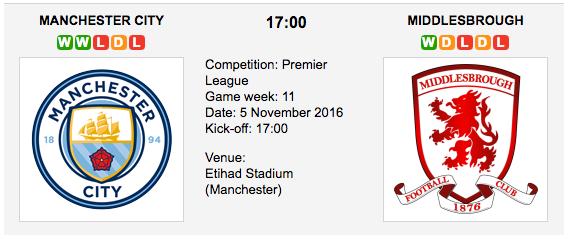 Man. City vs. Middlesbrough: Match preview - 5/11/2016 EPL