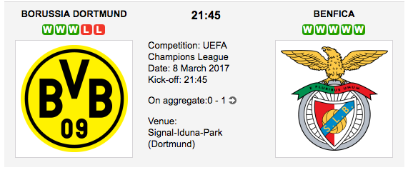 Dortmund vs. Benfica - UCL betting preview and tips