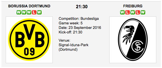Borussia Dortmund vs SC Freiburg: Preview Bundesliga