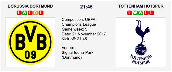Dortmund vs Tottenham-ucl-2017