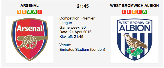 Arsenal vs West Bromwich Albion: EPL Preview
