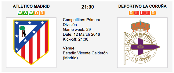 Atl. Madrid vs. Deportivo La Coruña - Match Preview La Liga 2016