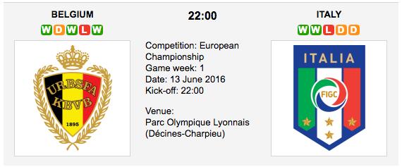 Belgium vs Italy - Group E EURO 2016