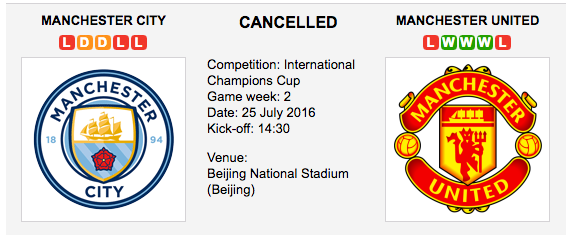 Man. City vs Man. United - Int. Champions Cup