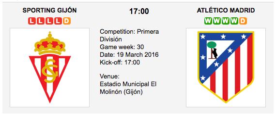 Sporting Gijon vs. Atl. Madrid - Match Preview La Liga 2016