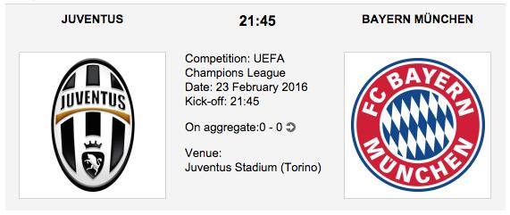 Juventus vs. Bayern Munchen