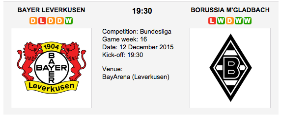 Bayer Leverkusen vs. Borussia M'gladbach