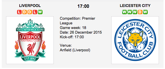 Liverpool vs. Leicester City
