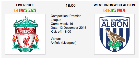 Liverpool vs. West Brom - Betting Preview: Premier League 2015