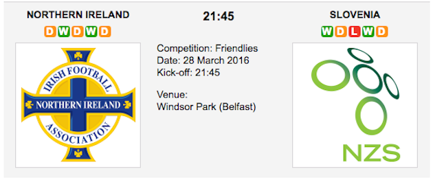 N. Ireland vs Slovenia : Preview Friendly on 28 March 2016