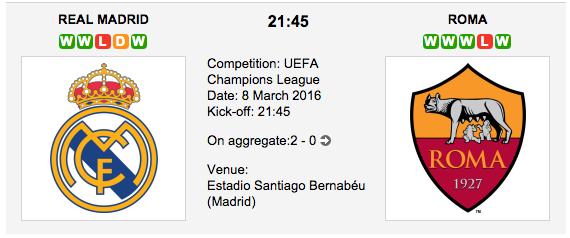 Real Madrid vs Roma: Champions League Betting Tips