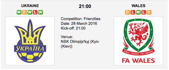 Ukraine vs Wales : Preview Friendly on 28 March 2016