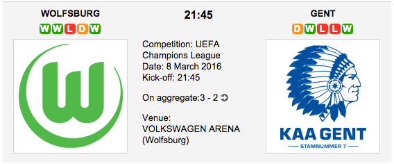 Wolfsburg vs Gent - Champions League Match Preview