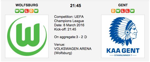 Wolfsburg vs Gent - Champions League Match Preview