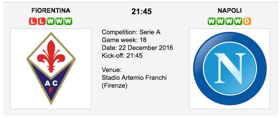 Fiorentina vs. Napoli: Match preview - 22/12/2016 - Serie A