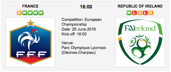 France vs Republic of Ireland - Euro 2016 - Play Offs