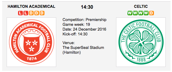 Hamilton vs. Celtic: Match preview - 24/12/2016 SPL