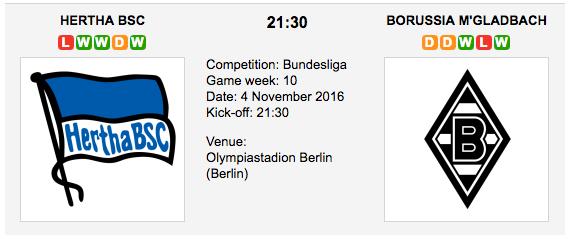 Hertha BSC vs. B. M'gladbach: Bundesliga Preview 2016