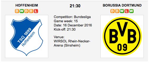 Hoffenheim vs. Borussia Dortmund: Bundesliga Preview 2016