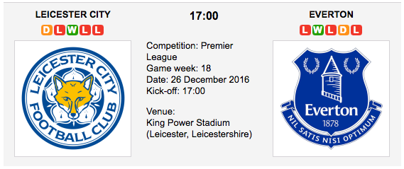 Leicester City vs. Everton: Match preview - 26/12/2016 EPL