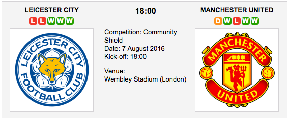 Leicester City vs Man. United: Community Shield