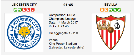 Leicester City vs. Sevilla - UCL betting preview and tips