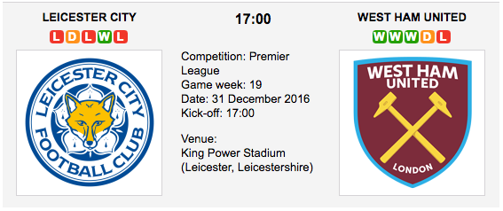 Leicester City vs. West Ham: Betting preview - 31/12/2016 EPL