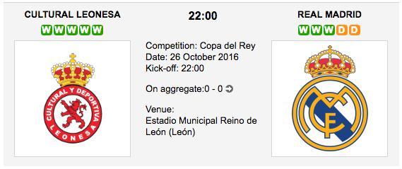 Cultural Leonesa vs. R. Madrid: Copa del Rey Preview 26/10/2016