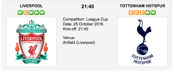 Liverpool vs. Tottenham: Match preview - 25/10/2016 EFL