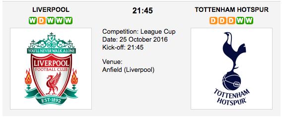 Liverpool vs. Tottenham: Match preview - 25/10/2016 EFL