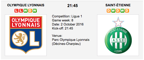 Lyon vs St Etienne: Match Preview 02/10/2016 Ligue 1