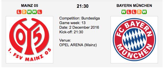 Mainz 05 vs. Bayern Munchen: Bundesliga Preview 2016