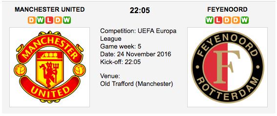 Man. United vs. Feyenoord: UEL Preview 24/11/2016