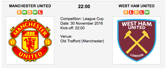 Manchester United vs. West Ham United: Match preview - 30/11/2016 EFL