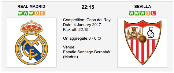 Real Madrid vs. Sevilla: Copa del Rey 04/01/2017