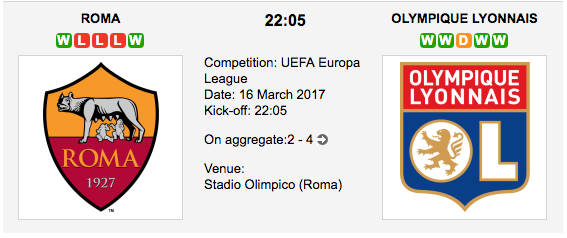 Roma vs. Olympique Lyon - Europa League Preview