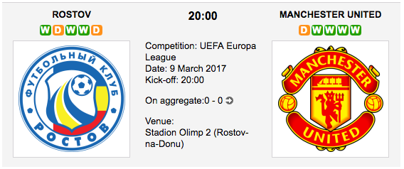 Rostov vs. Manchester United - Europa League Preview