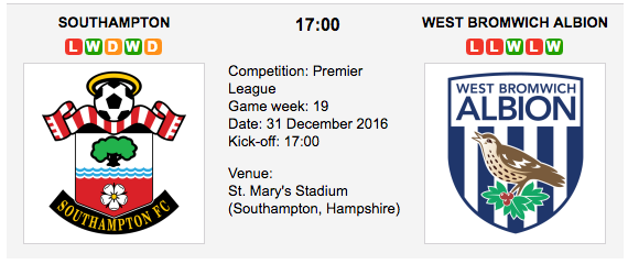 Southampton vs. West Brom: Betting preview - 31/12/2016 EPL