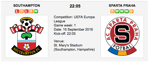 Southampton vs Sparta Prague: UEL Preview 15/09/2016