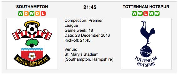 Southampton vs. Tottenham: Match preview - 28/12/2016 EPL