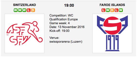 Switzerland vs. Faroe Islands: World Cup 2018 Qualifiers Preview