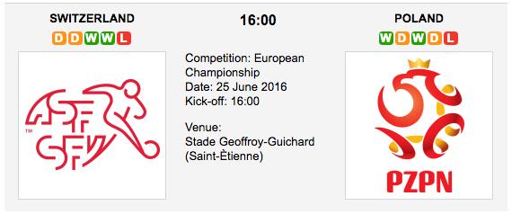 Switzerland vs Poland - Euro 2016 - Play Offs