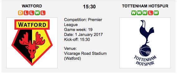 Watford vs. Tottenham Hotspur: Betting preview - 01/01/2017 EPL